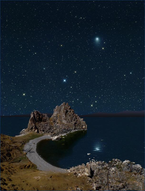 Night sky of Olkhon Island, Lake Baikal, Russia