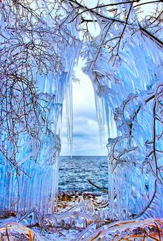Ice Curtain in The Shore of Lake Baikal